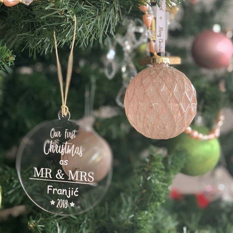 Christmas Ornament - 1st Christmas as Mr & Mrs-Christmas Ornament-CMC Gold