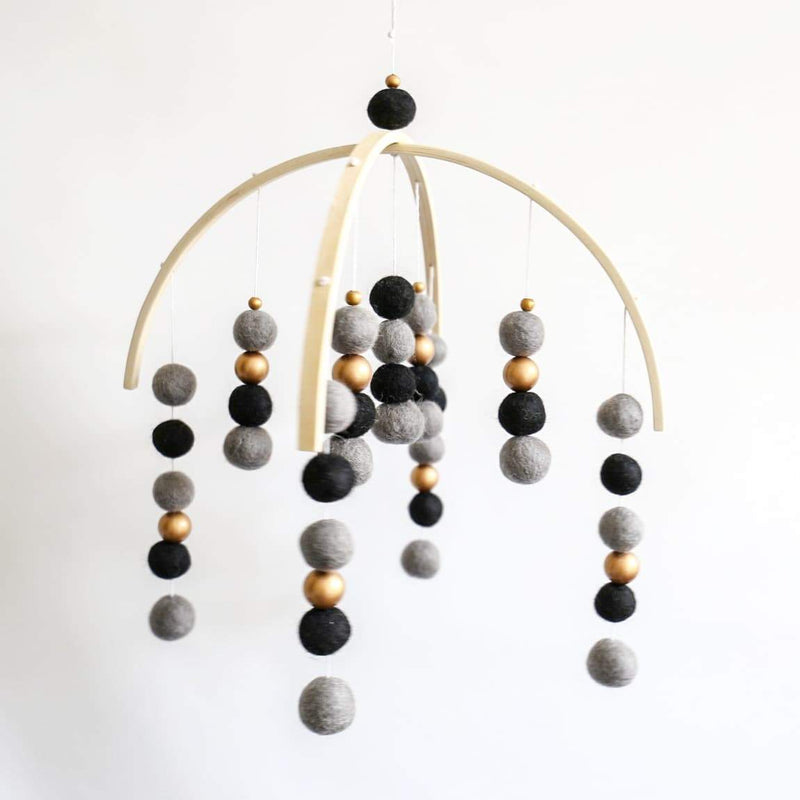 Dark Grey, Black & Gold Felt Ball Mobile-Felt Ball Mobile-CMC Gold
