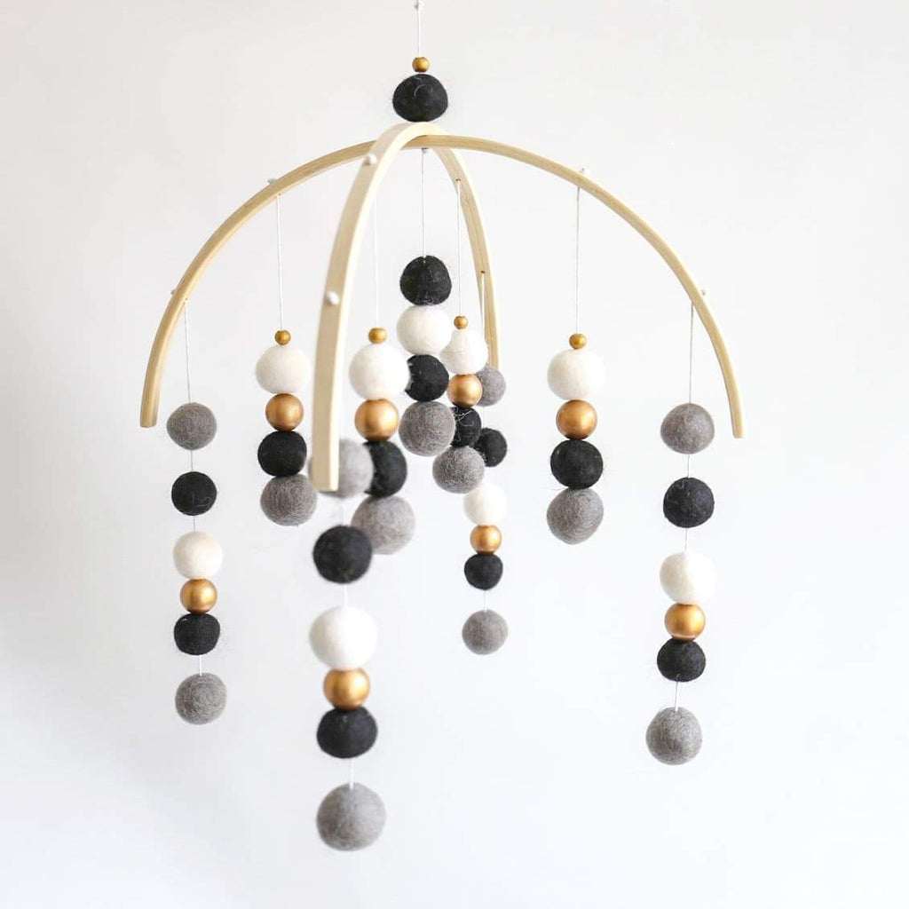 Dark Grey, Black, White & Gold Felt Ball Mobile-Felt Ball Mobile-CMC Gold