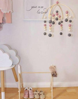 Dark Grey, Dusty Pink, White & Raw Hex Felt Ball Mobile-Felt Ball Mobile-CMC Gold