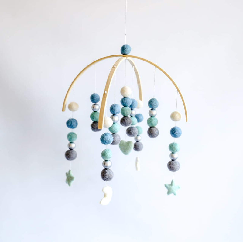 Dark Grey, Mint, Lagoon Blue, White Silver Moon & Star Felt Ball Mobile-Felt Ball Mobile-CMC Gold