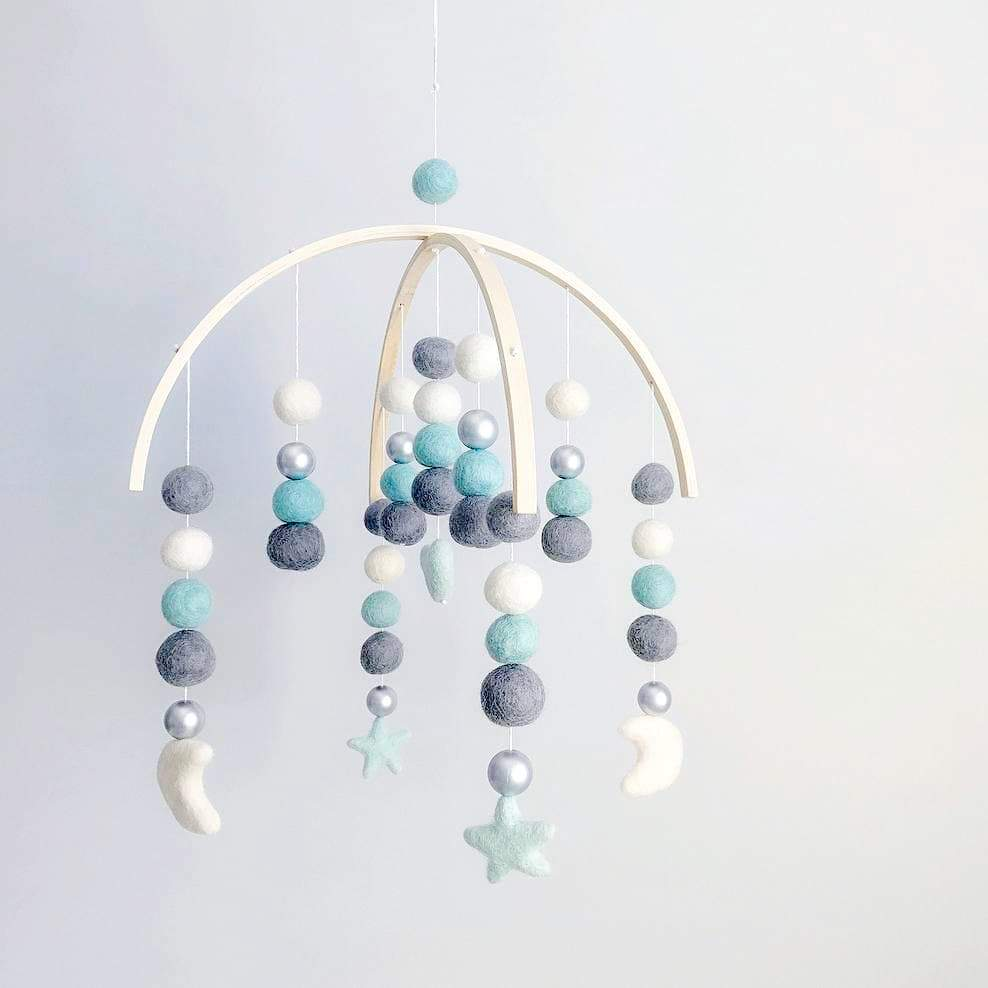 Dark Grey, Mint, Silver, White Moons, Stars, Heart Mobile-Felt Ball Mobile-CMC Gold