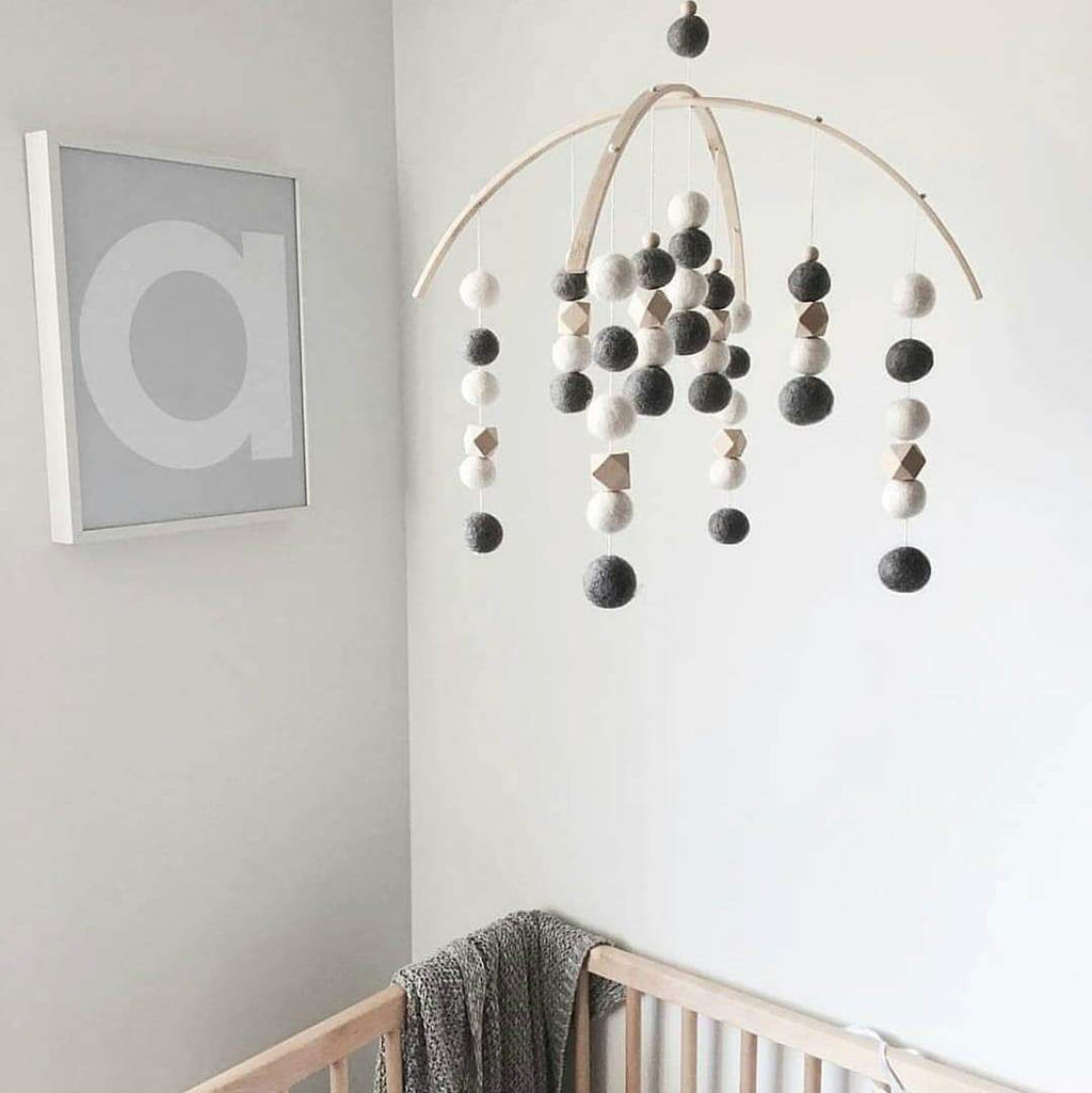 Dark Grey, White, Hex Felt Ball Baby Mobile-Felt Ball Mobile-CMC Gold