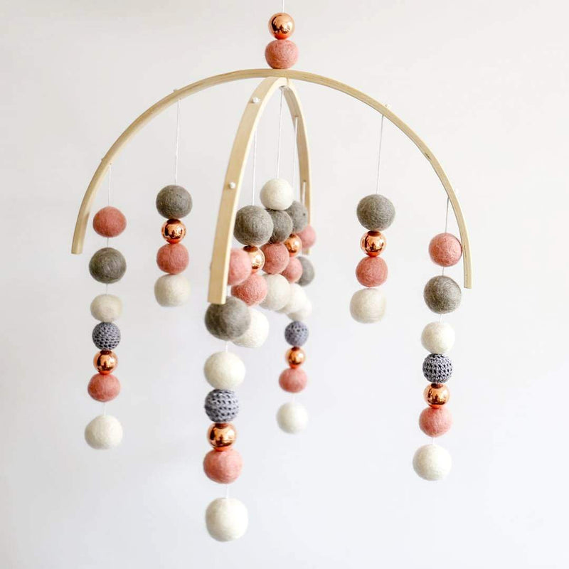 Dark Peach, White, Grey Crochet, Rose Gold Felt Ball Mobile-CMC Gold