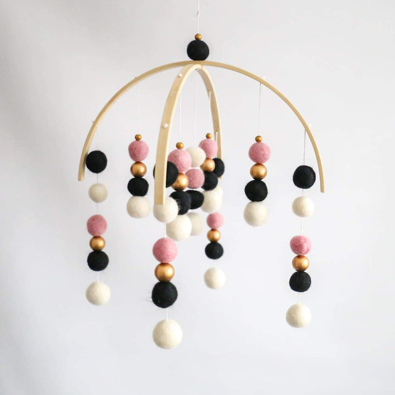 Dusty Pink, Black, White, Gold Felt Ball Mobile-Felt Ball Mobile-CMC Gold