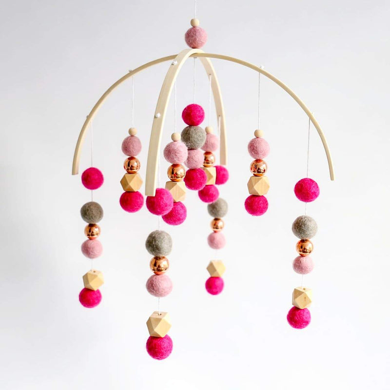 Dusty Pink, Hot Pink, Rose Gold, Grey, raw hex Felt Hearts Felt Ball Mobile-Felt Ball Mobile-CMC Gold