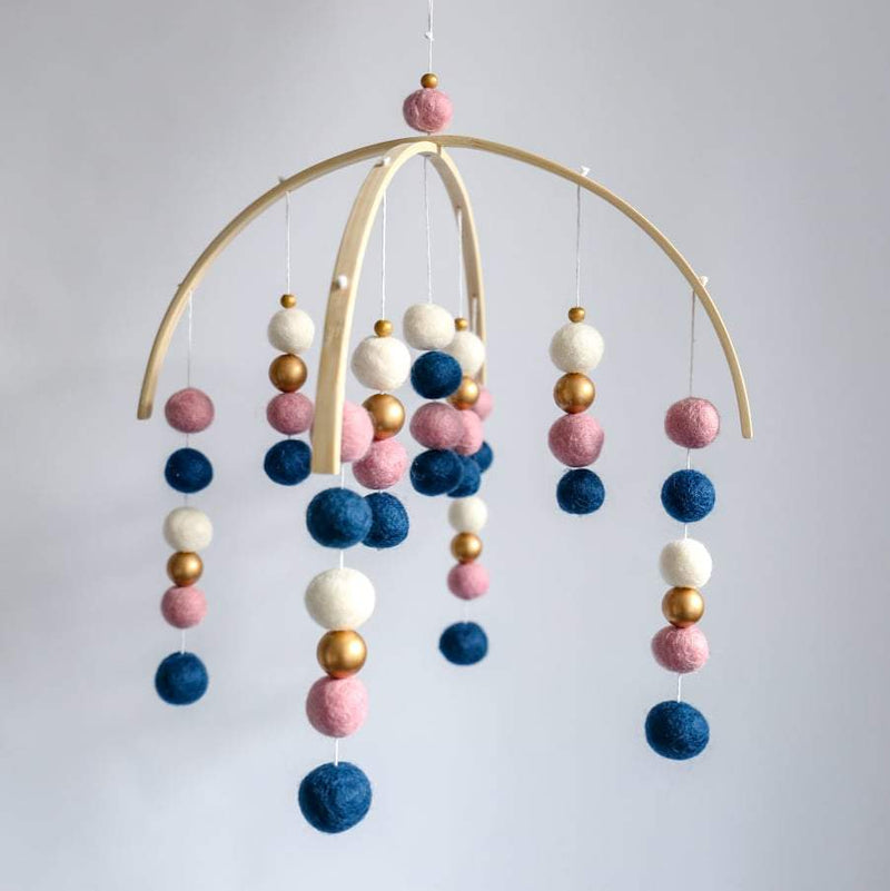 Dusty Pink, Light Navy, White, Gold Felt Ball Mobile-Felt Ball Mobile-CMC Gold
