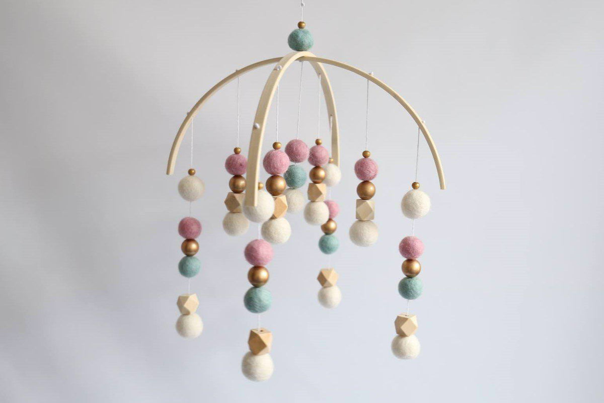 Dusty Pink, Mint, Gold, Raw Hex Felt Ball Mobile