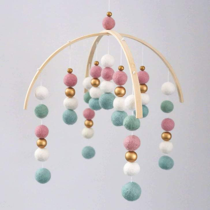 Dusty Pink, Mint, White & Gold Felt Ball Mobile-Felt Ball Mobile-CMC Gold