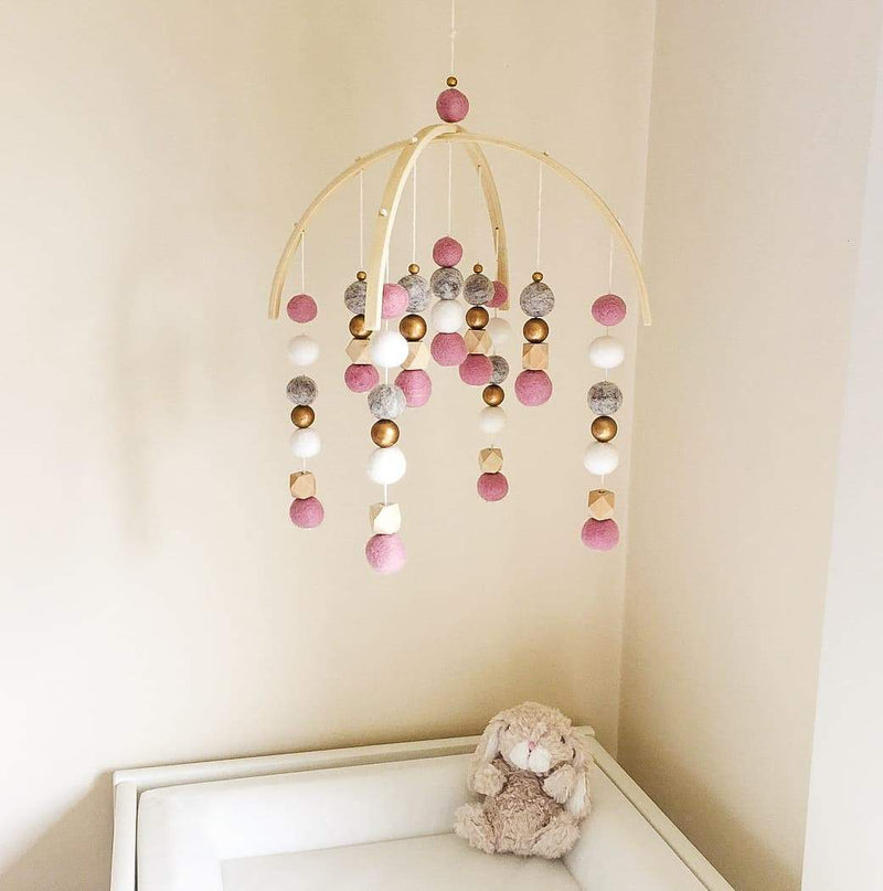 Dusty Pink, Pebbles, White, Gold & Raw Hex Felt Ball Mobile-Felt Ball Mobile-CMC Gold