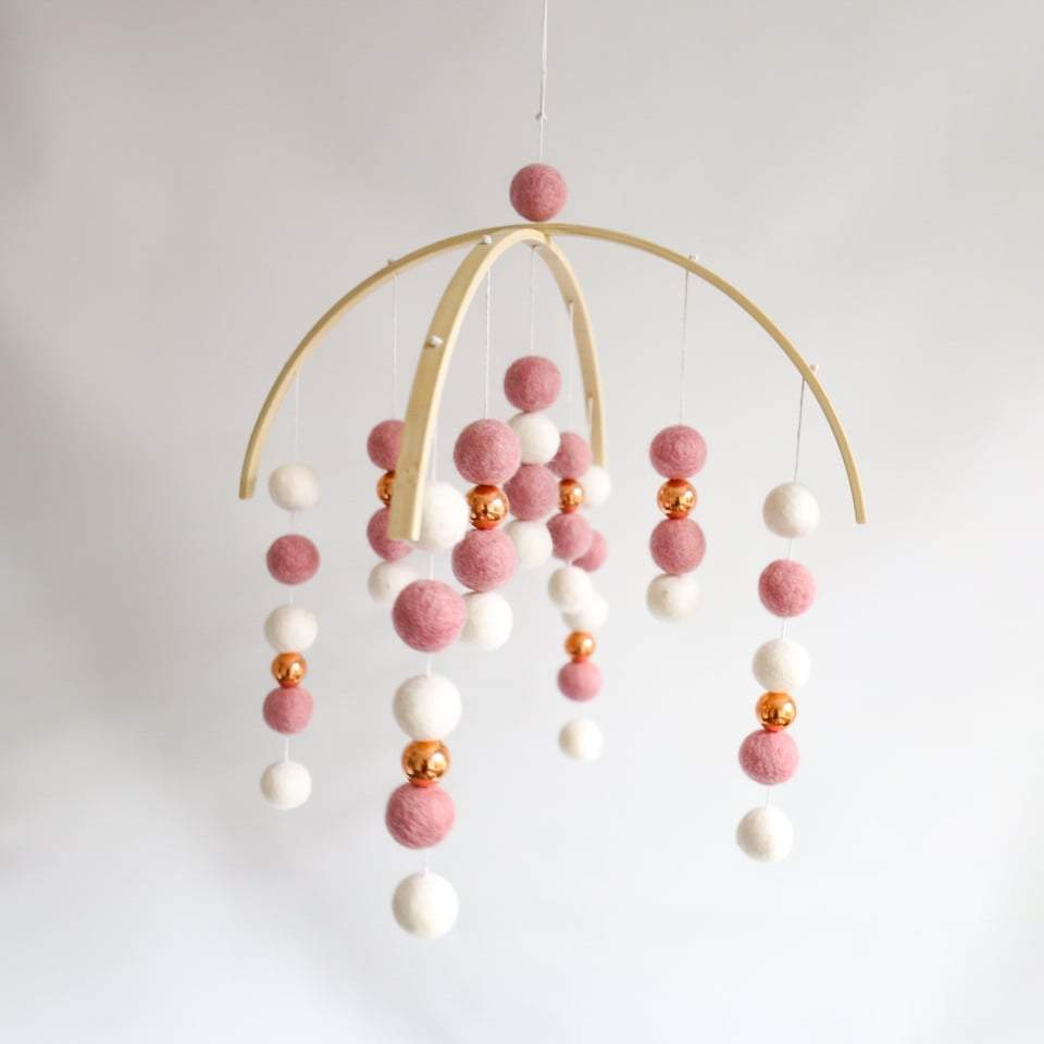 Dusty Pink, White & Rose Gold Mobile-Felt Ball Mobile-CMC Gold