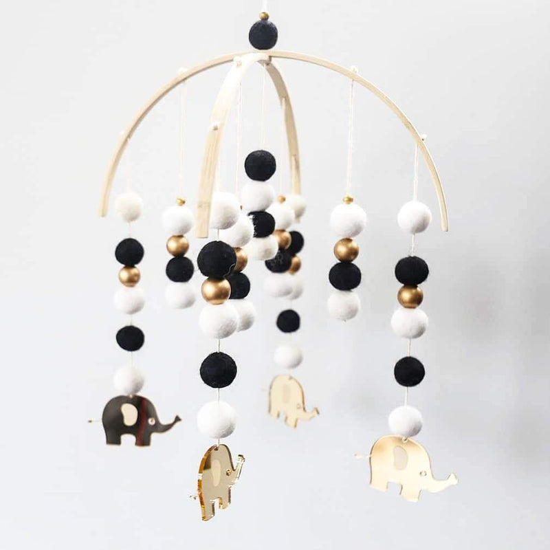Elephant mobile (Black, white and gold)-Felt Ball Mobile Laser Cut Range-CMC Gold