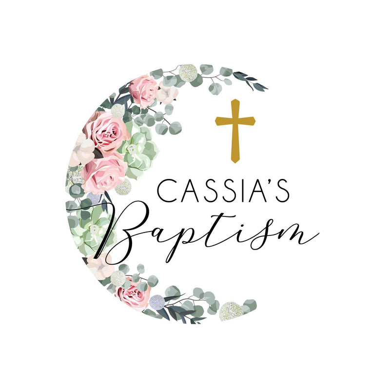 Floral Baptism Printed Cake Topper-Cake Topper-CMC Gold