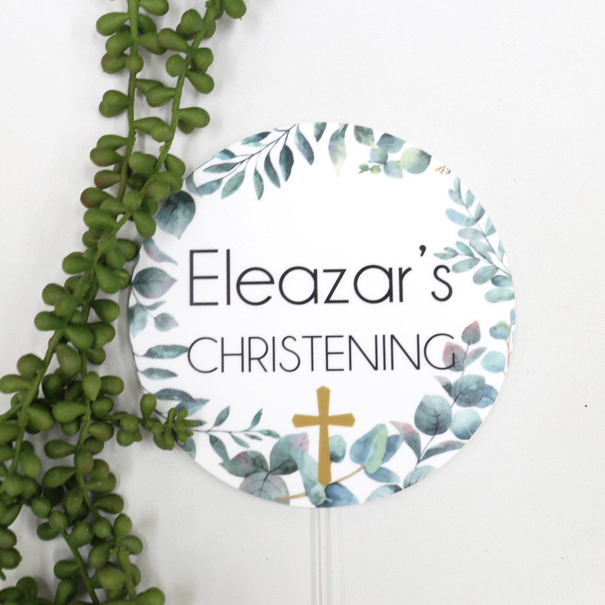 Folliage Christening Printed Cake Topper