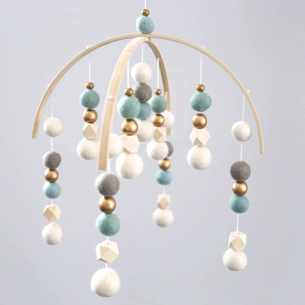 Gold, White, Mint, Dark Grey, Raw Hex Felt Ball Mobile-Felt Ball Mobile-CMC Gold