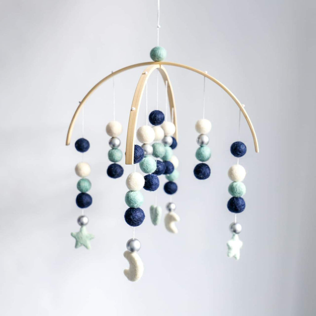 Heart, Stars, Moons Felt Ball Mobile - Navy, White, Mint, Silver-Felt Ball Mobile-CMC Gold