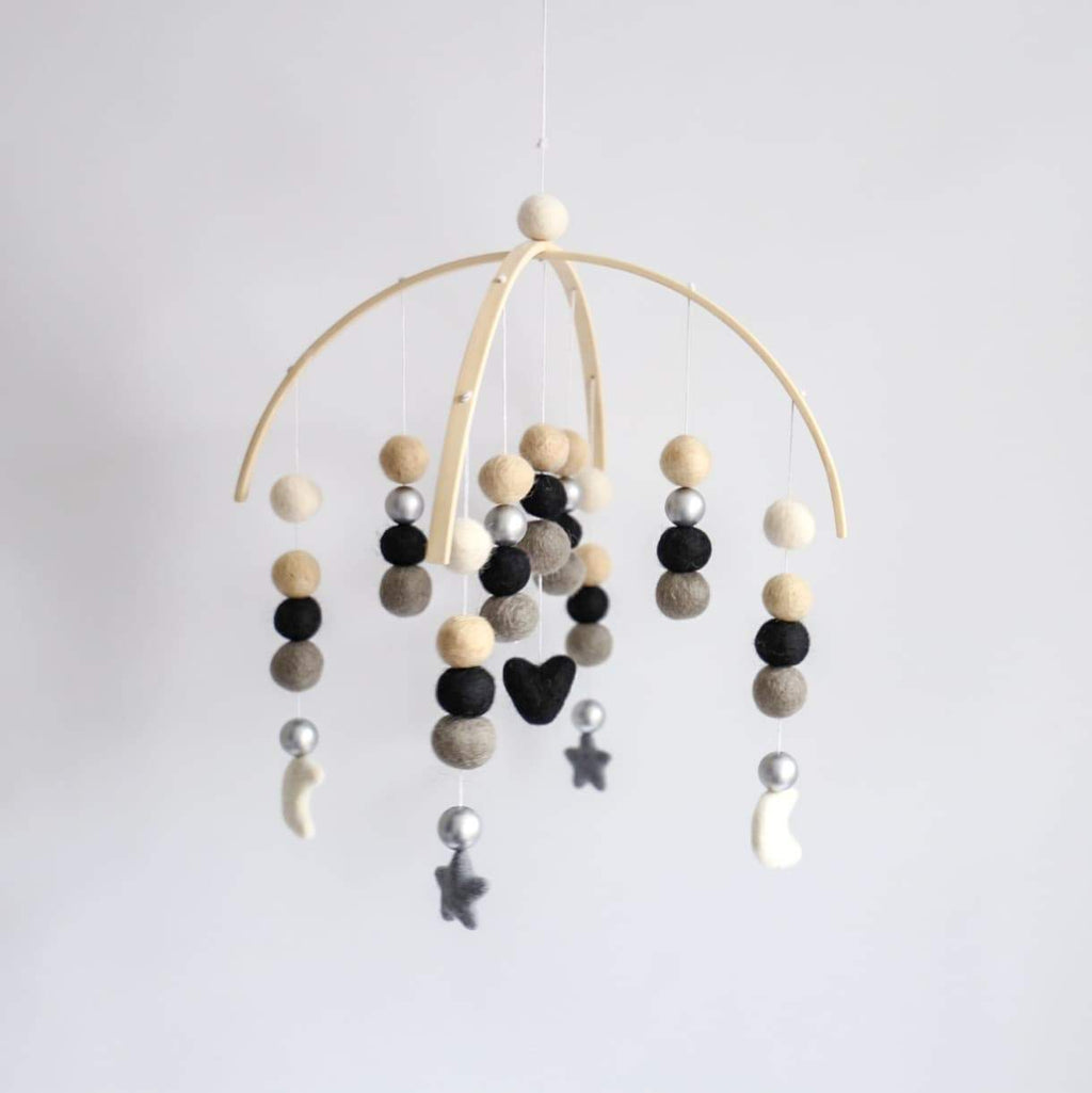 Heart, Stars, Moons Felt Ball Mobile - White, Cream, Black, Dark Grey, Silver-Felt Ball Mobile-CMC Gold