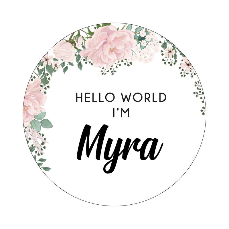 Hello World I'm - Pink and White Floral-Birth Announcement-CMC Gold