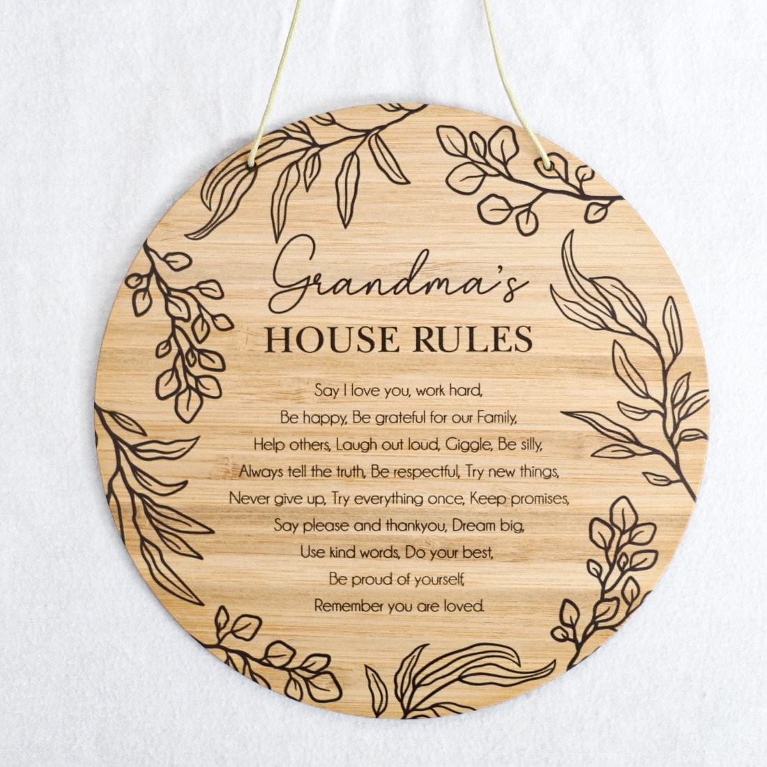 House Rules Round Bamboo Plaque
