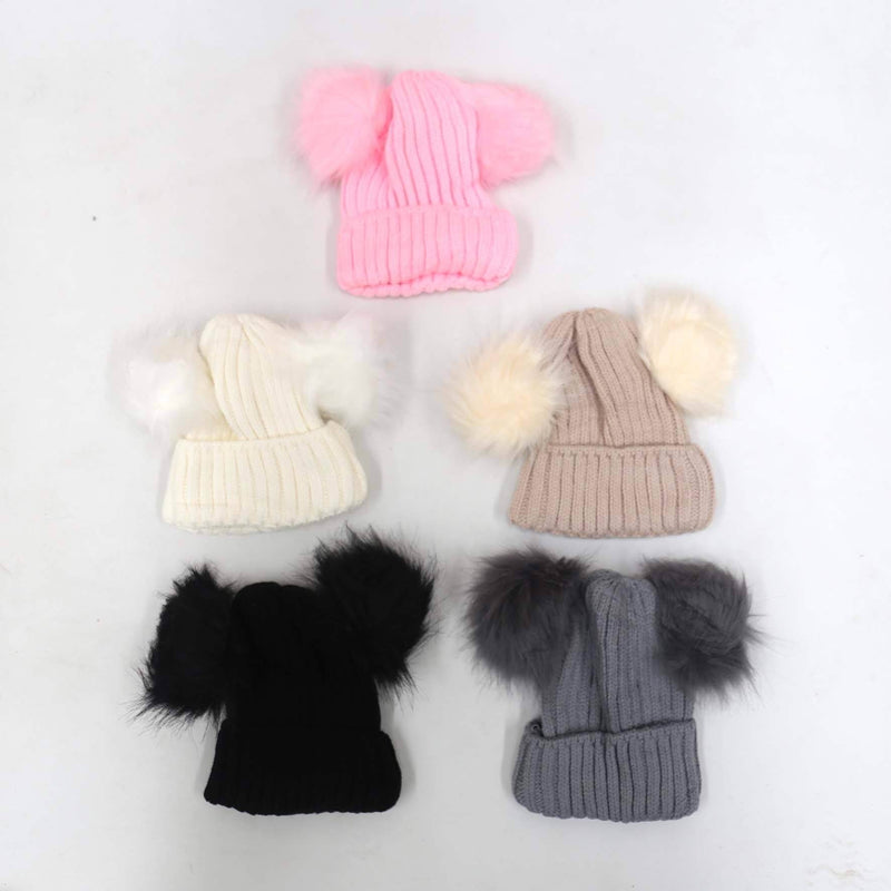 Double Pom Pom Beanies (Ribbed)