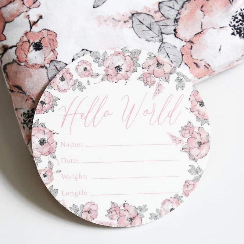 Birth Announcement Card- Hello World Blushing Bloom