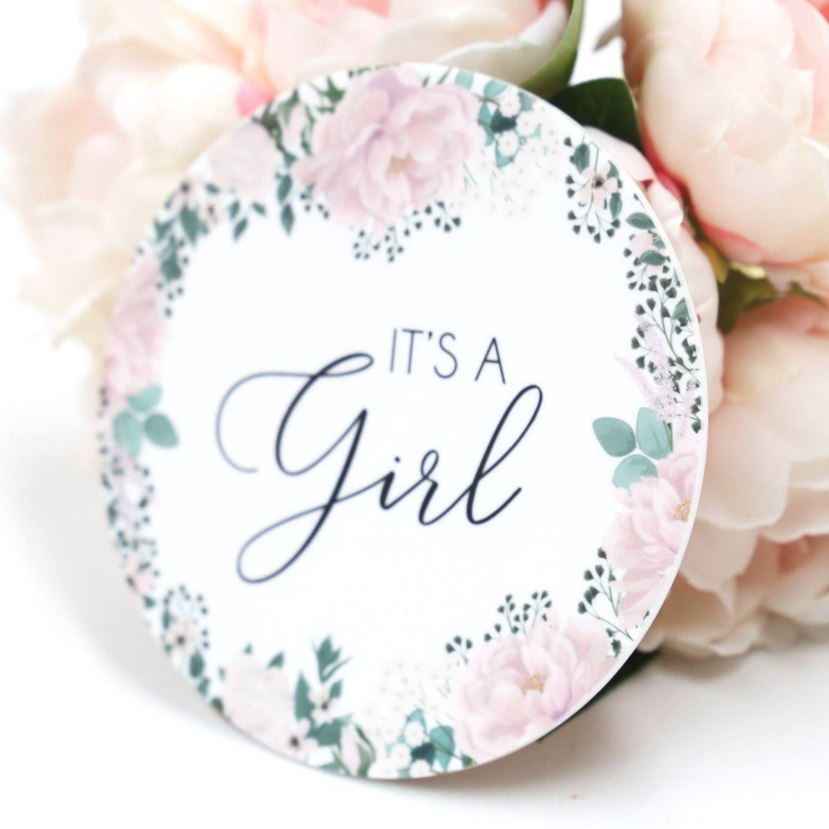 It's A Girl- Pink & White Floral Boarder Birth Announcement Plaque