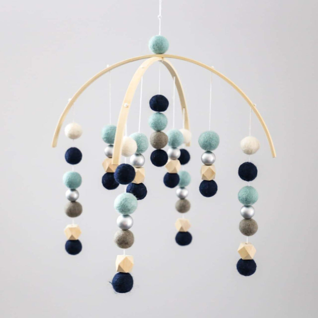 Mint, Navy, Grey, White, Raw Hex, Silver felt Ball Mobile-Felt Ball Mobile-CMC Gold