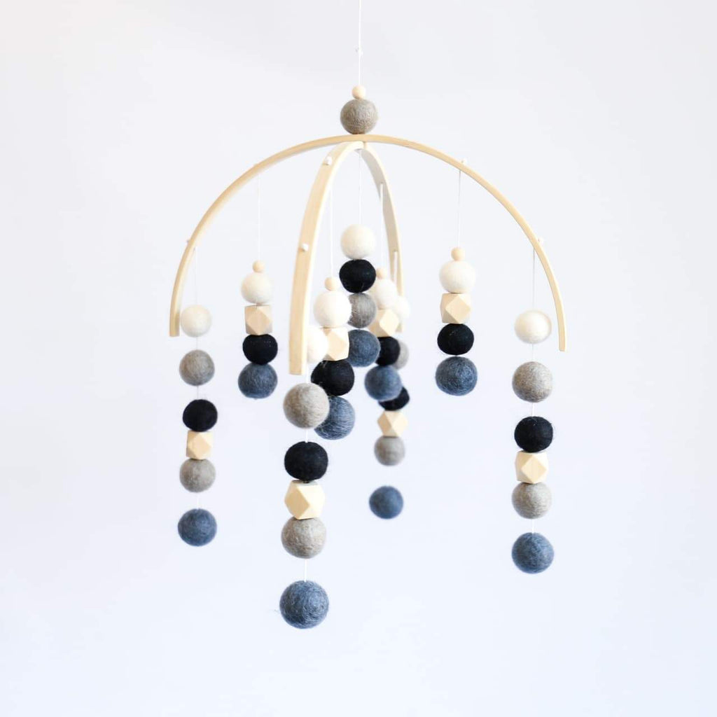 Navy Grey, White, Black, Grey, Raw Hex Felt Ball Mobile-Felt Ball Mobile-CMC Gold