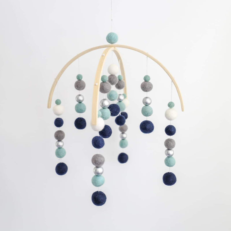 Navy, Mint, Dark Grey, White & Silver Felt Ball Mobile-Felt Ball Mobile-CMC Gold
