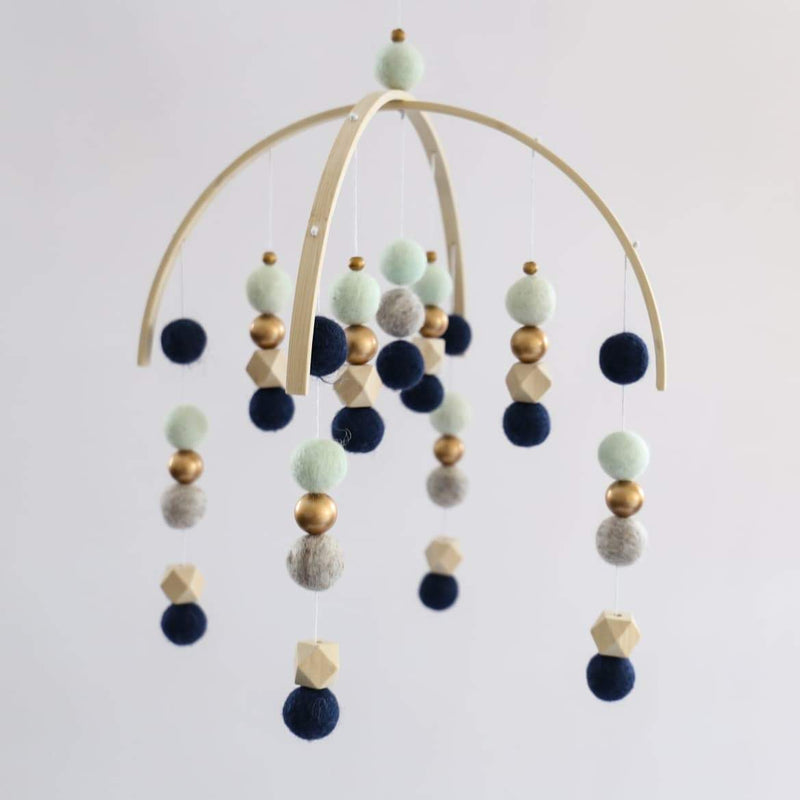 Navy, Pebbles, Honeydew, Hex, Gold Felt Ball Mobile-Felt Ball Mobile-CMC Gold
