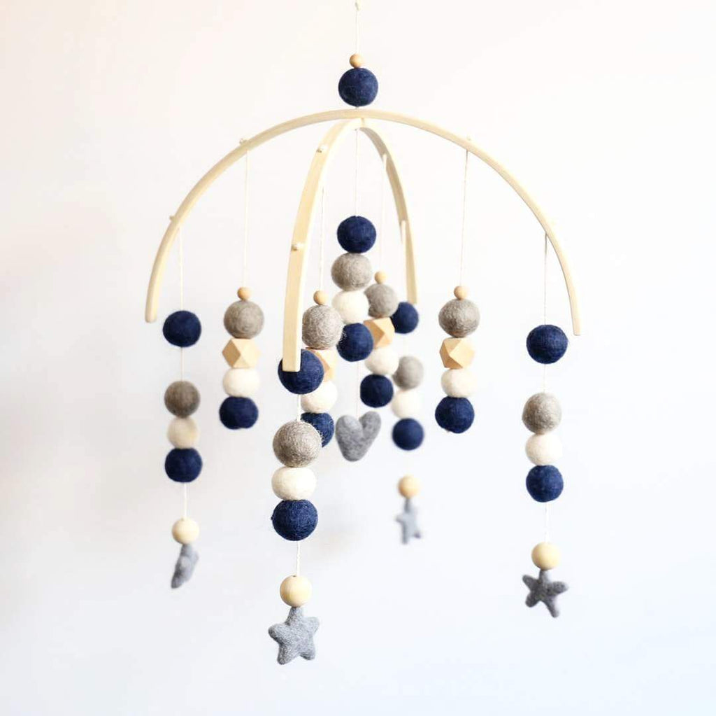 Navy, White, Dark Grey, Raw Hex & Round Bead Felt Ball Mobile-Felt Ball Mobile-CMC Gold