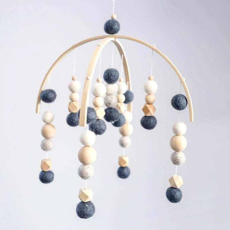 Navy, White, Grey Beaded Felt Ball Mobile-Felt Ball Mobile-CMC Gold