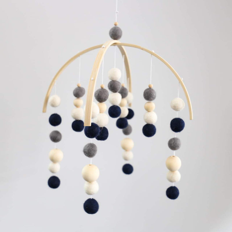 Navy, White, Grey, Raw Round Felt Ball Mobile-Felt Ball Mobile-CMC Gold