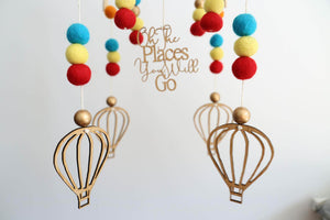 Oh The Places You Will Go Mobile - Rainbow-Felt Ball Mobile Laser Cut Range-CMC Gold