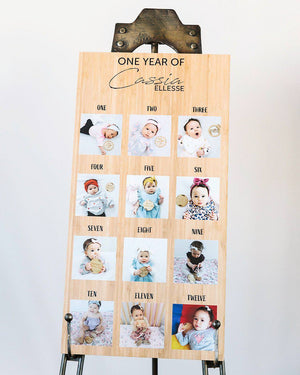 One Year Of Photo Board-Birthday Board-CMC Gold
