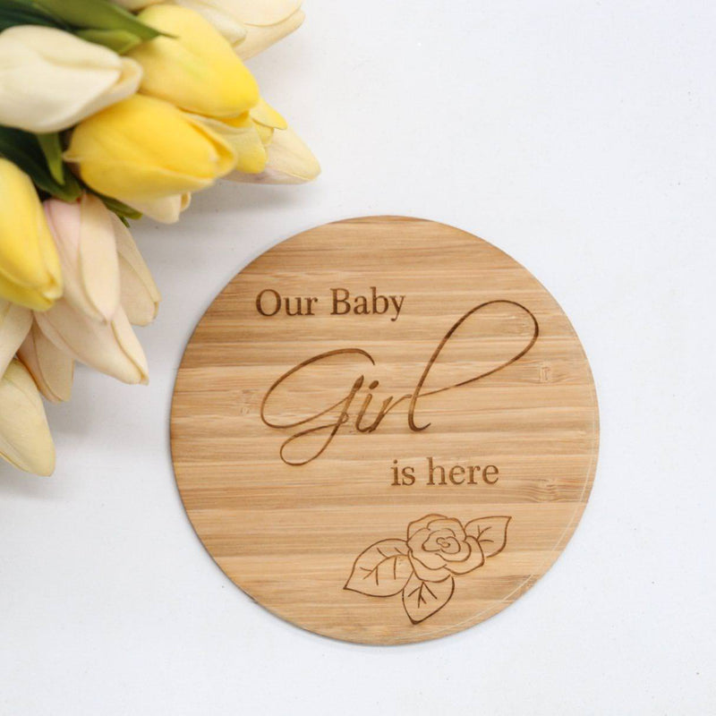 Our Baby Girl Is Here Announcement Plaque-Birth Announcement-CMC Gold