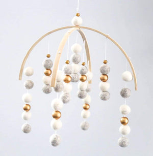 Pebbles, White, Gold Felt Ball Mobile-Felt Ball Mobile-CMC Gold