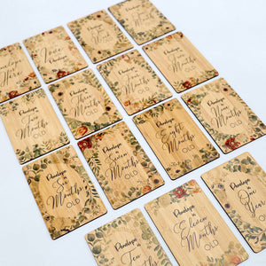 Personalised Botanical Milestone Cards (set of 15)-Milestone Cards-CMC Gold