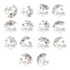 Personalised Floral Illustration Milestone Cards (set of 14)-Milestone Cards-CMC Gold