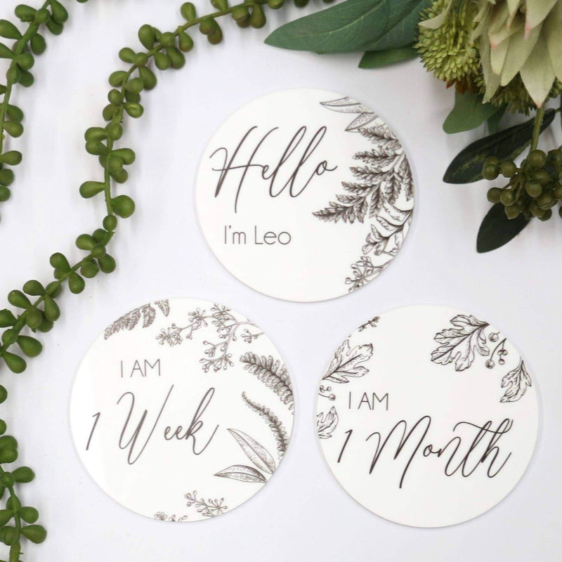 Personalised Foliage Milestone Cards (set of 14)-Milestone Cards-CMC Gold