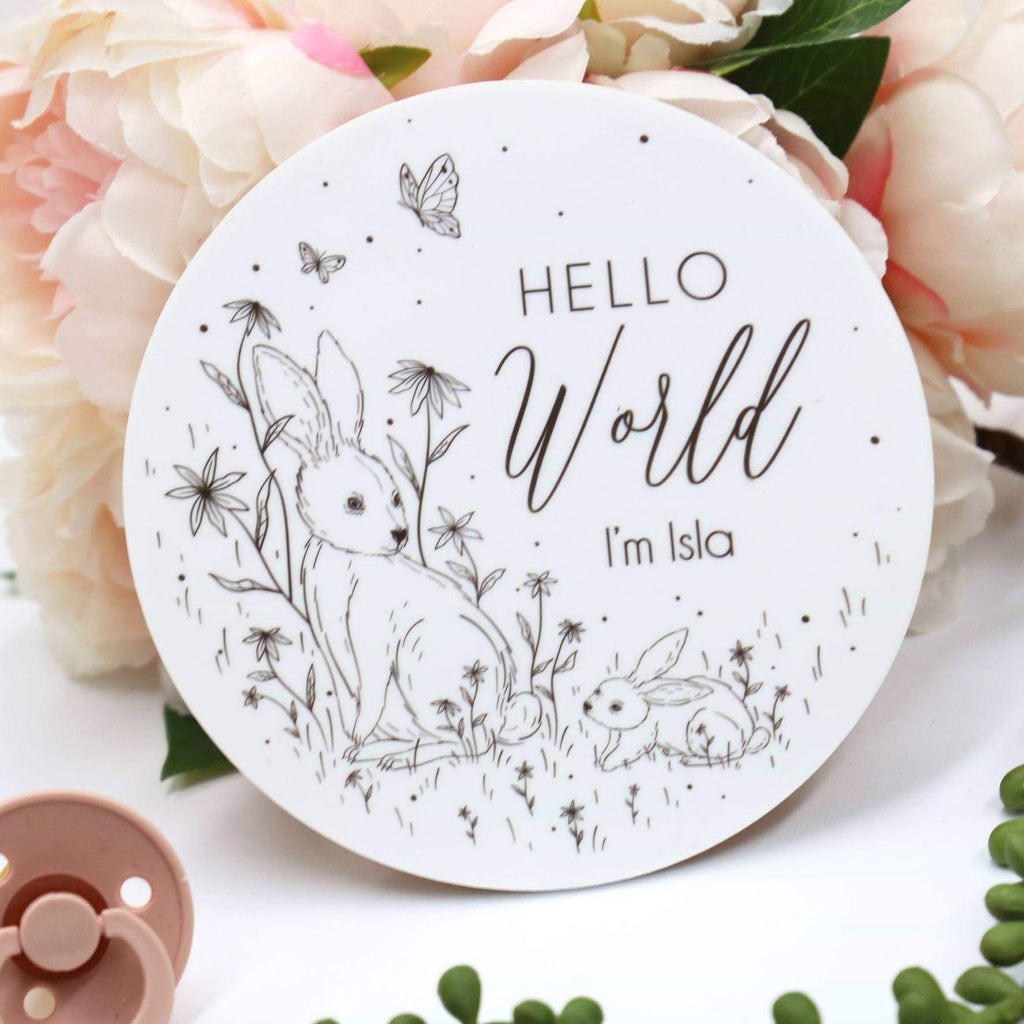 Personalised Hello I'm Bunny Birth Announcement Plaque-Birth Announcement-CMC Gold