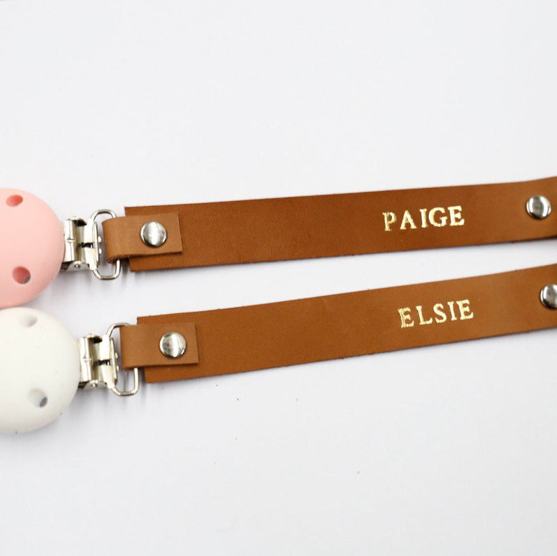 Personalised Leather Dummy Clip (1 Letter)-Dummy Clip With Letters-CMC Gold