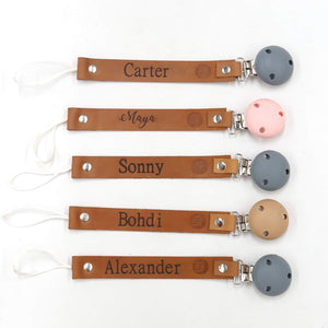 Personalised Leather Dummy Clip (7 Letters)-Dummy Clip With Letters-CMC Gold