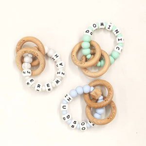 Personalised Rattle Hex & Silicone Teether-Wooden Teether-CMC Gold