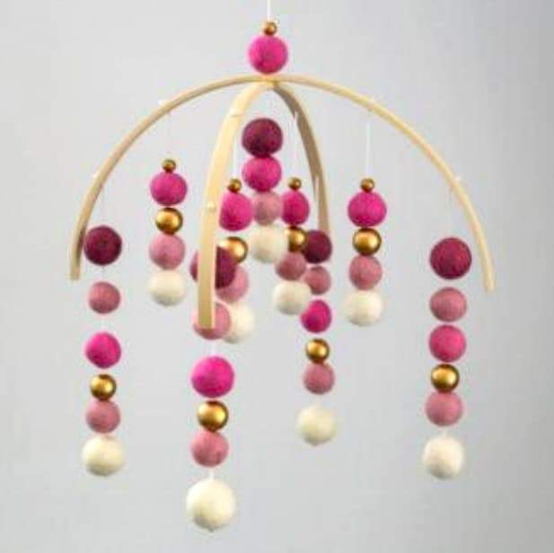 Pinks Felt Ball Mobile-Felt Ball Mobile-CMC Gold