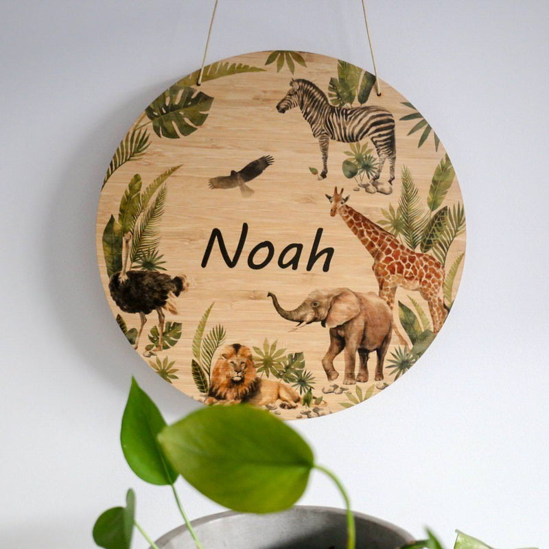 Printed Round Plaque- Jungle Plaque-Printed Name Plaque-CMC Gold