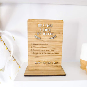 Reasons I Love My Daddy-Father's Day Plaque-CMC Gold