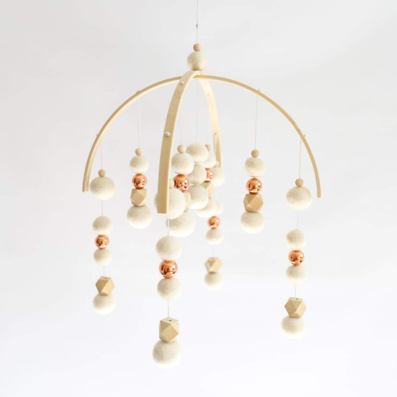Rose Gold, White & Hex Felt Ball Mobile-Felt Ball Mobile-CMC Gold