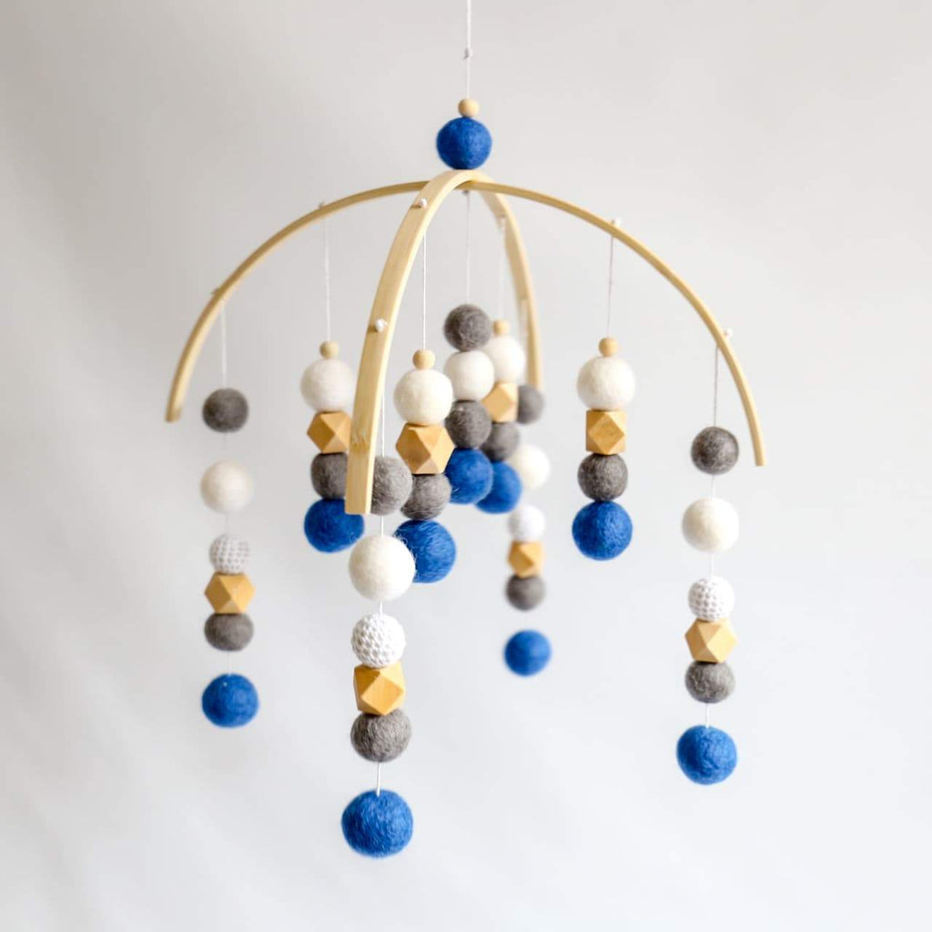 Royal Blue, Dark Grey, White, Raw Hex Felt Ball Mobile-CMC Gold