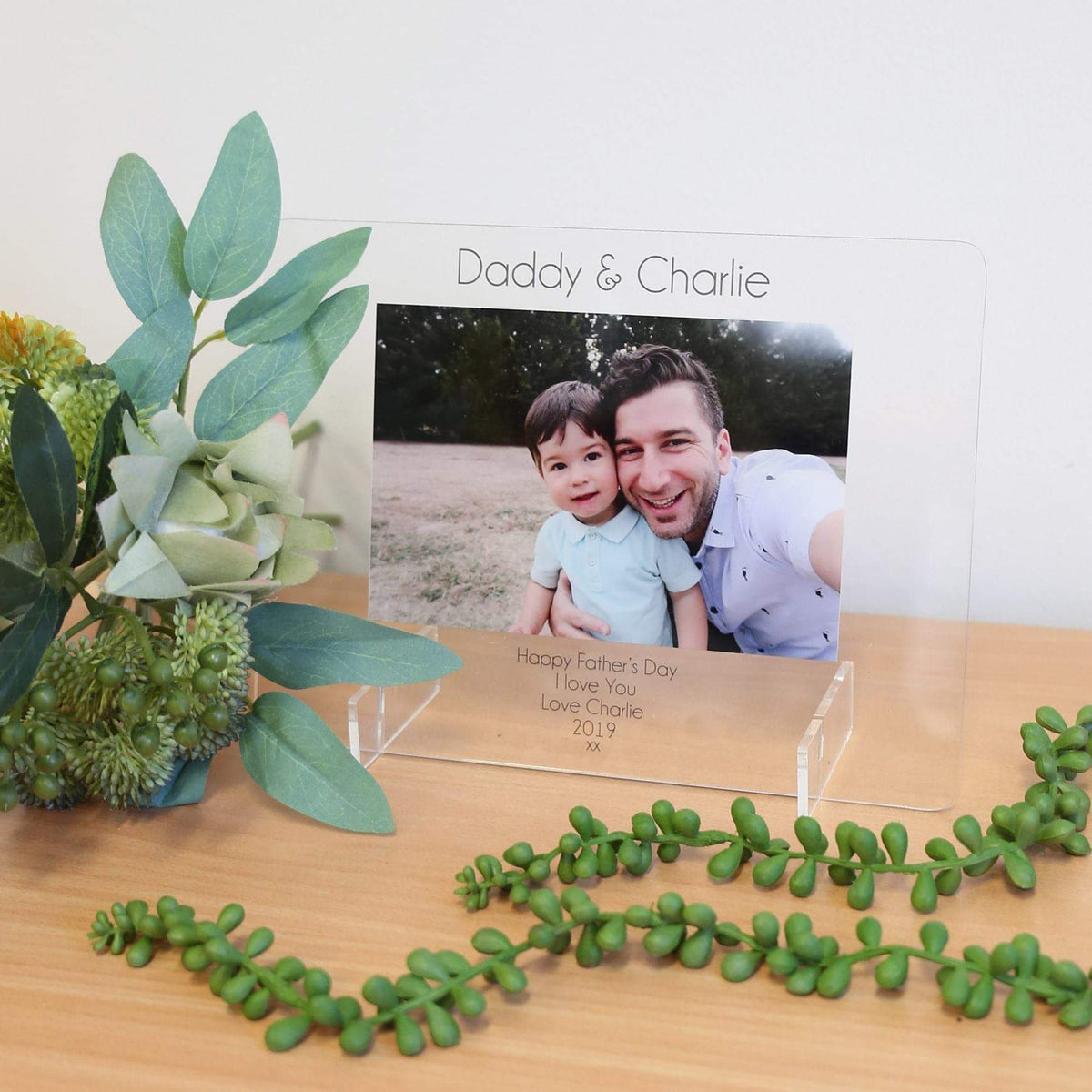 Transparent Acrylic Printed Photo Frame - Daddy & Child Happy Father's Day - Custom Text-Printed Photo Frame-CMC Gold